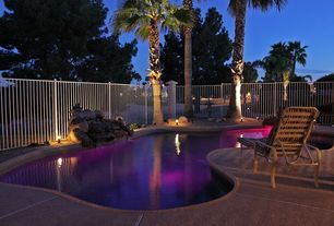 Tropical Swimming Pool with exterior tile floors, Fence