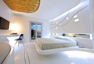 Modern Master Bedroom with Wall sconce, French doors, Built-in bookshelf, Eames molded plastic side chair wood dowel base