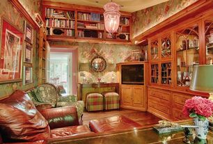 Country Home Office with High ceiling, Hardwood floors, can lights, flush light, Built-in bookshelf, interior wallpaper