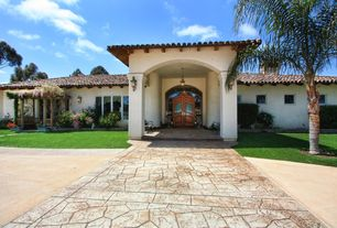 Mediterranean Front Door with Pathway, Transom window, exterior stone floors, Glass panel door, Gazebo