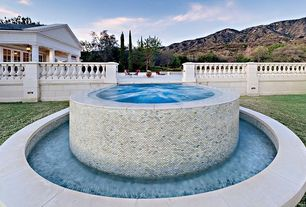Traditional Hot Tub with exterior tile floors, exterior concrete tile floors, French doors, Pool with hot tub, Deck Railing