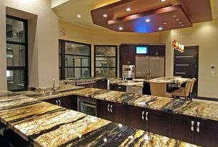 Contemporary Kitchen with electric cooktop, specialty door, Flat panel cabinets, Breakfast bar, U-shaped, Kitchen island
