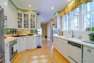 Traditional Kitchen with Simple Marble, Maple - Cinnamon 2 1/4 in. Solid Hardwood Strip, Crown molding, Frameless, U-shaped