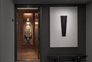 "Modern Entryway with Paint 1, Carpet, Paint 2, flat door, High ceiling, ""Thai Teppanom Beautiful Being"" Statue, can lights"