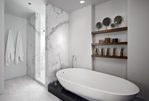 Contemporary Master Bathroom with Pental nero marquina polished marble, Marble shower, Custom built-in shelving, Freestanding