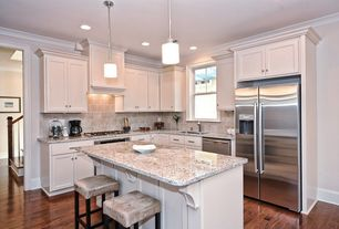 Traditional Kitchen with Armstrong Flooring Walnut - Autumn Bronze, Hardwood floors, Crown molding, Undermount sink, L-shaped