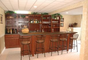 Traditional Bar with can lights, Carpet, Standard height, Built-in bookshelf