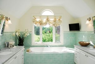 Cottage Full Bathroom with Bathtub, specialty window, drop in bathtub, Pental Island Stone Glass Beach Tile, Frameless, Paint