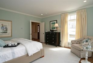 Contemporary Guest Bedroom with Hardwood floors
