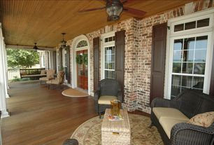 Rustic Porch with Arched window, Quorum international baltic patio ceiling fan, Wrap around porch, Transom window