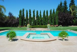 Modern Swimming Pool with Pool with hot tub, Fountain, exterior concrete tile floors, exterior tile floors