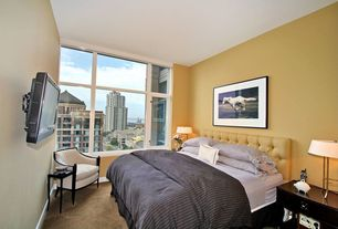 Contemporary Guest Bedroom with Carpet, Transom window