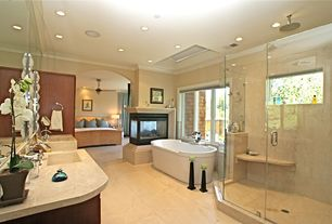 Contemporary Master Bathroom with marble floors, Undermount sink, Double sink, Rain shower, Custom shower, High ceiling