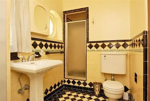 Traditional 3/4 Bathroom with Flat panel cabinets, Built-in bookshelf, Pedestal sink, Inset cabinets, Arched window