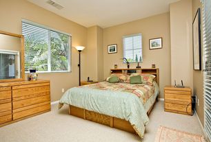Traditional Guest Bedroom with Standard height, Casement, Carpet, French doors, double-hung window