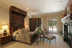 Traditional Master Bedroom with French doors, can lights, High ceiling, Crown molding, Carpet, specialty window