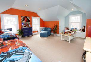 Eclectic Kids Bedroom with Carpet, Window seat, no bedroom feature, Standard height, can lights, Casement