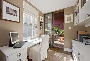 Modern Home Office with Carpet, Hardwood floors, Built-in bookshelf