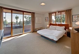 Modern Guest Bedroom with sliding glass door, picture window, Standard height, Carpet, flush light, Wall sconce