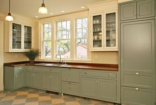 Traditional Kitchen with Glass panel, Casement, Vinyl floors, One-wall, Classic Holophane Glass Pendant Light, drop-in sink