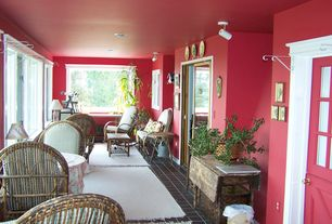 Traditional Living Room with Paint 2, stone tile floors, Log Cabin Rustics Willow Twig Easy Chair, can lights, Dutch door