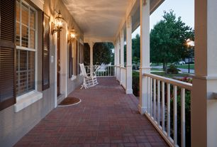 Country Porch with exterior stone floors, specialty window, Screened porch, exterior brick floors, Deck Railing