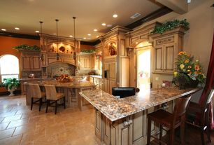 Mediterranean Kitchen with Pental fenix gold polished granite, U-shaped, Kitchen island, Arched window, French doors, Flush