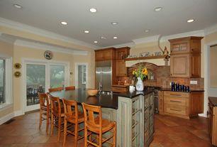 Traditional Kitchen with Built In Refrigerator, Kitchen island, One-wall, full backsplash, Breakfast bar, Raised panel