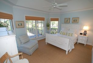 Cottage Guest Bedroom with Crown molding, Shabby chic, Ceiling fan, Carpet, Safavieh chunky basketweave maize beige sisal rug