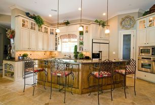 Country Kitchen with Built In Panel Ready Refrigerator, Pendant light, Large Ceramic Tile, Casement, L-shaped, Paint 1