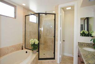 Traditional 3/4 Bathroom with Undermount sink, specialty door, Raised panel, Simple Granite, Simple granite counters