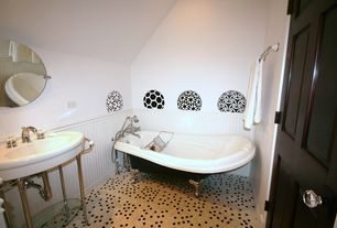 Traditional Full Bathroom with six panel door, Powder room, penny tile floors, Bathtub, Standard height, Console sink