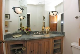 Craftsman Powder Room with Powder room, Wall sconce, Undermount sink, Stone Source, Nublado Light, marble, Complex Granite