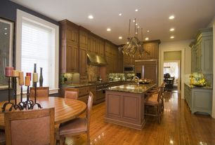 Traditional Kitchen with Wall Hood, Breakfast bar, can lights, Enclume Decor Basket Hanging Pot Rack, Paint 2, Paint 3
