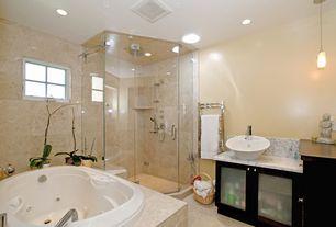 Modern 3/4 Bathroom with Complex Granite, Handheld showerhead, frameless showerdoor, Vessel sink, Kendrick Vessel Sink