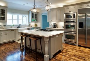Traditional Kitchen with Farmhouse sink, Flat panel cabinets, Pendant light, Inset cabinets, Ceramic Tile, Hardwood floors