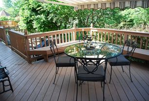 Craftsman Deck with exterior awning, Fence, NW Custom Deck Railing Bench, Trellis, Outdoor kitchen