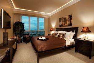 Modern Guest Bedroom with Crown molding, Standard height, Carpet, Casement