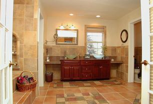 Eclectic Full Bathroom with Framed Partial Panel, Simple Granite, Vessel sink, Simple granite counters, can lights, Casement
