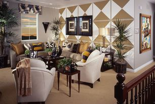 Eclectic Living Room with Carpet, interior wallpaper
