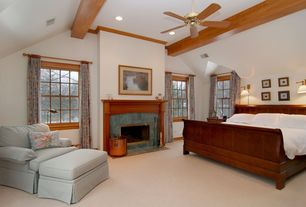 Craftsman Guest Bedroom with Ceiling fan, Crown molding, High ceiling, Carpet, Exposed beam