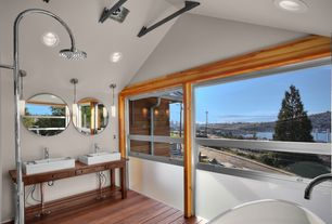 Craftsman Master Bathroom with Shower, Wood counters, Rain shower, Double sink, can lights, Flat panel cabinets, Paint 1