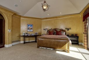 Mediterranean Guest Bedroom with Carpet, flush light, Crown molding, Wainscotting, French doors