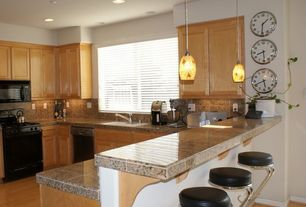Traditional Kitchen with Flat panel cabinets, Stone Tile, Pendant light, dishwasher, full backsplash, Inset cabinets