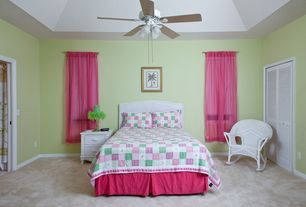 Country Guest Bedroom with High ceiling, Ceiling fan, Carpet, no bedroom feature, flush light