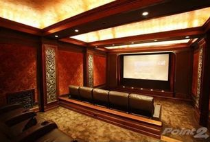 Traditional Home Theater with Exposed beam, Carpet