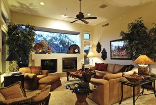 Eclectic Great Room with can lights, Standard height, Casement, Fireplace, Carpet, picture window, Cement fireplace