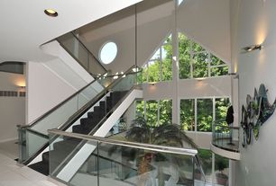 Modern Staircase with Loft, Cathedral ceiling, Glass staircase, Wall sconce