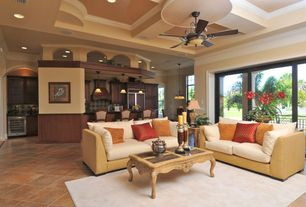 Eclectic Great Room with Ceiling fan