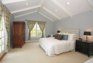 Eclectic Guest Bedroom with High ceiling, Exposed beam, Carpet